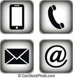 boutons, set., contact