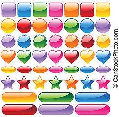 boutons, site web, coloré, ensemble