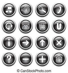 boutons, symboles, noir