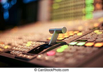 boutons, tã©lã©viseur, tv, émission, switcher, production, studio, station, vidéo, audio
