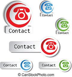 boutons, téléphone, contact, -, icônes