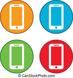 boutons, téléphone, ensemble
