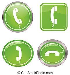 boutons, téléphone, vert