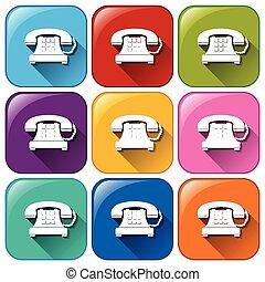 boutons, téléphones