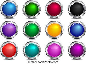 boutons, toile, app, navigation, site