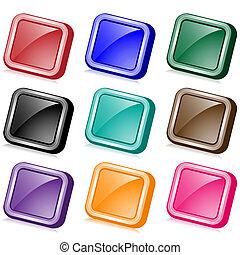 boutons, toile, carrée, incliné