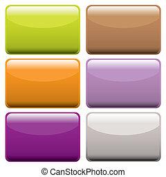 boutons, toile, coloré, oblong