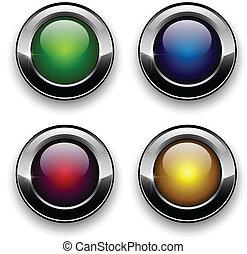 boutons, toile, ensemble