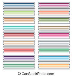 boutons, toile, ensemble, colors., pastel