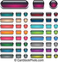 boutons, toile, ensemble, eau