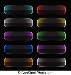 boutons, toile, ensemble, néon, coloré