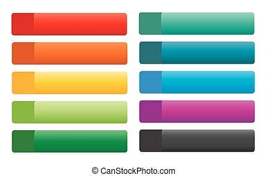 boutons, toile, ensemble, vecteur, coloré