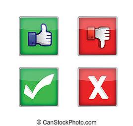 boutons, toile, ensemble, vote