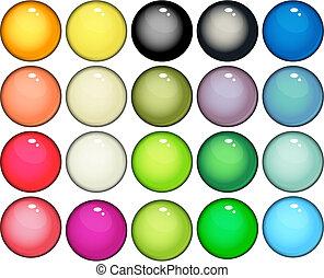 boutons, toile, lustré, icônes