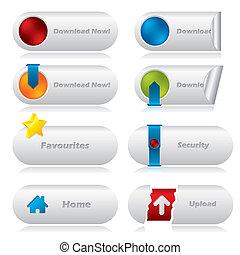 boutons, toile, téléchargement, éléments, divers