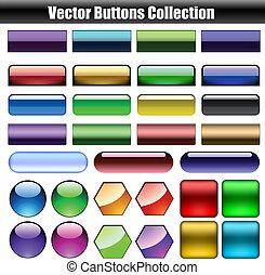 boutons, toile, vecteur, lustré, collection