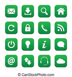 boutons, toile, vert