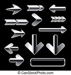 boutons, vecteur, ensemble, flèche