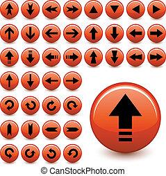 boutons, vecteur, flèche
