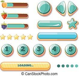 boutons, vecteur, icônes, collection, jeux ordinateur, utilisateur, interface., boosters, barres, progrès