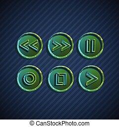 boutons, vecteur, joueurs