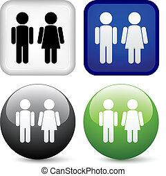 boutons, vecteur, mâle, femme