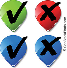 boutons, vecteur, marque contrôle