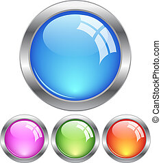 boutons, vecteur, vitreux