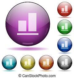 boutons, verre, aligner, sphère, fond