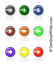 boutons, verre, ensemble, flèche