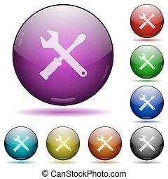 boutons, verre, outils, sphère