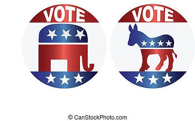 boutons, vote, républicain, démocrate, illustration