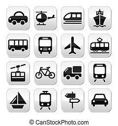 boutons, voyage, vecteur, transport