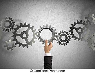 bouwen, een, zakelijk, systeem