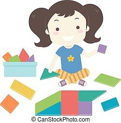 bouwen, illustratie, speelgoed vorm, meisje, geitje, blokjes