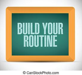 bouwen, jouw, routine, boodschap, illustratie, ontwerp