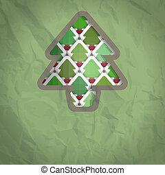 bouwkarton, boompje, kerstmis, achtergrond