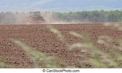 bouwland, tractor, lente, werkende