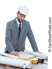 bouwondernemer, plan, middelbare leeftijd , tekening, mooi