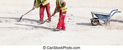 bouwpersoneel, met, schop