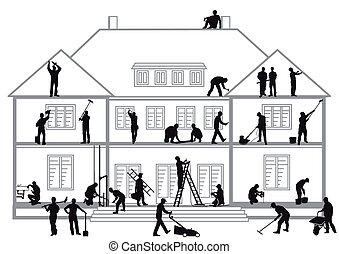 bouwpersoneel, op het werk