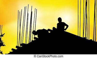 bouwpersoneel, silhouette, industrie, bouwterrein