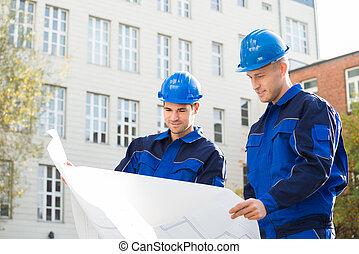 bouwschets, analyzing, architecten, samen