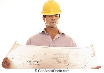 bouwschets, bouwsector, plan, lezende