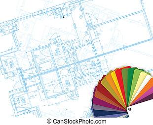 bouwschets, en, palet, van, kleuren