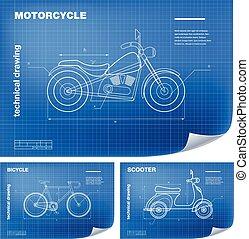 bouwschets, fiets, technisch, scooter, wireframe, illustraties, motorfiets, tekening