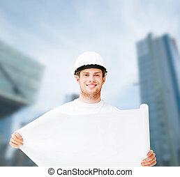 bouwschets, helm, het kijken, architect, mannelijke