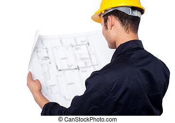 bouwschets, het herzien, ingenieur
