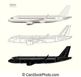 bouwschets, industriebedrijven, silhouette, schets, realistisch, plane., vrijstaand, style., vliegtuig., vliegtuig, black , zijaanzicht