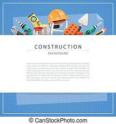 bouwschets, kopie, bouwsector, achtergrond, ruimte